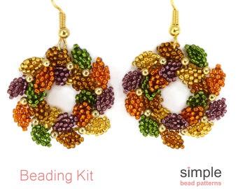 Beaded Christmas Wreath Earring Making Kit, Christmas Beading Kit, DIY Christmas Earrings Kit, Beadweaving Kits, Jewelry Making Kit, K-00407