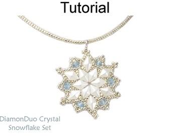 Beading Pattern Tutorial - Beaded Snowflakes - DiamonDuo Two Hole Beads - Earrings & Necklace - DiamonDuo Crystal Snowflake Set #27244