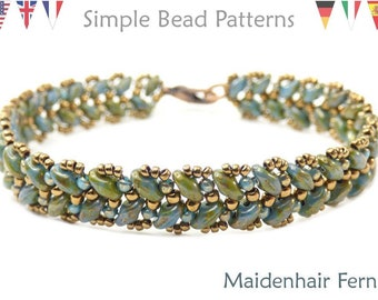 Super Duo Bead Patterns - Beaded Bracelet Tutorials - Jewelry Making - Two Hole Beads - Simple Bead Patterns - Maidenhair Fern #231