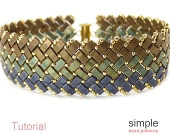 Beaded Bracelet Patterns, Herringbone Bead Stitching, Half Tila Beads Beading Patterns for Bracelet, DIY Beaded Bracelet Tutorial, P-00201
