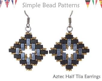 Half Tila Bead Pattern, Half Tila Earrings, DIY Beaded Earring Pattern, Beaded Earrings Tutorial, Tila Bead Earring, Bead Stitching, P-00017