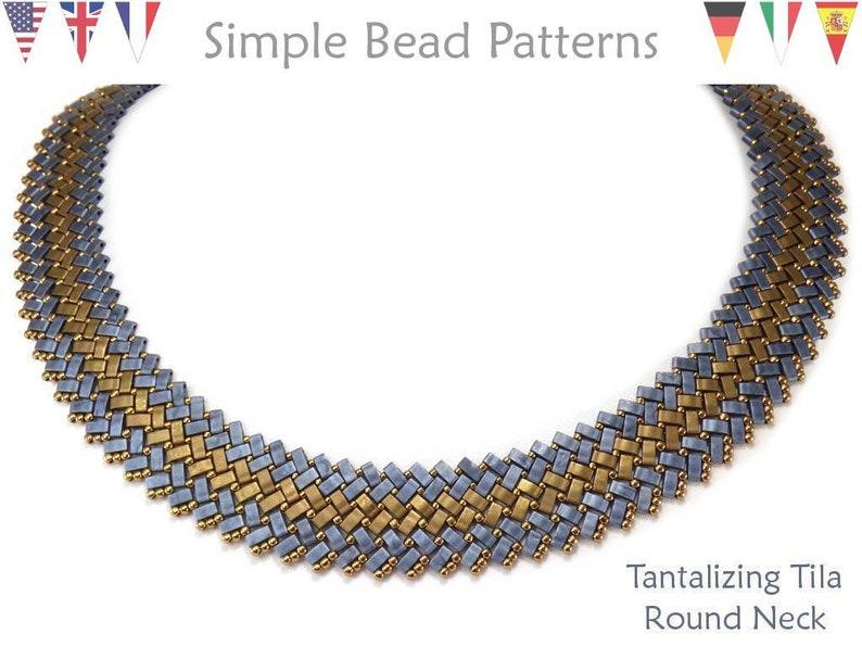 54380b979833c Miyuki Half Tila Beading Pattern - Two Hole Bead Necklace Tutorial-  Herringbone - Simple Bead Patterns - Tantalizing Tila Round Neck #415