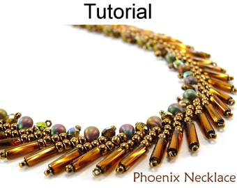 Beaded Necklace Patterns - Beading Tutorial - St. Petersburg Stitch - Bugles - Simple Bead Patterns - Phoenix Necklace #3339