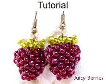 Beading Tutorials and Patterns - Beaded Earrings - Jewelry Making - Blackberries Raspberries - Seed Beads - Juicy Berries #1408