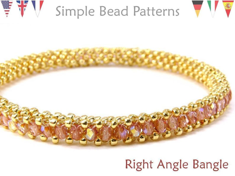 Simple Bead Patterns Right Angle Weave RAW Right Angle Bangle #146 Beading Patterns Bangle Bracelets Jewelry Making Tutorials