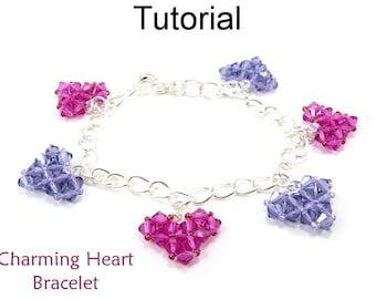 Heart Bracelet Pattern - Beading Tutorial - Valentines Heart Jewelry - Simple Bead Patterns - Charming Heart Bracelet #4611