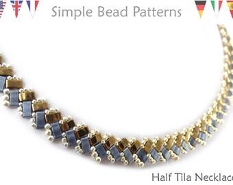 Beaded Necklace Pattern, Half Tila Bead Pattern, Herringbone Bead Stitch Patterns, Beadweaving Patterns, DIY Beaded Necklace Design, P-00198