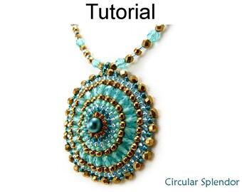 Simple Bead Patterns - Pendant Beading Tutorial - Circular Brick Stitch - Seed Beads - Circular Splendor #25