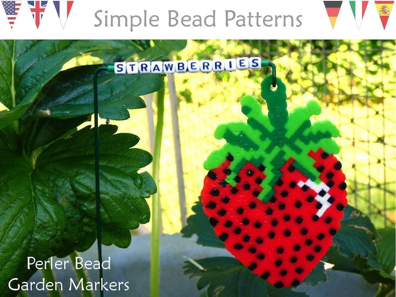 Diy Perler Bead Garden Markers Beading Pattern Perler Bead Fruit Veggie Markers Easy Project For All Ages Simple Bead Patterns 363