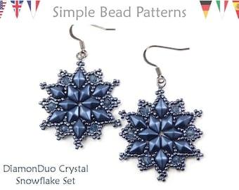 Beaded Snowflake Dangle Earrings and Snowflake Pendant Necklace Beading Patterns, Bead Snowflake Beading Tutorial, Christmas Beading P-00132