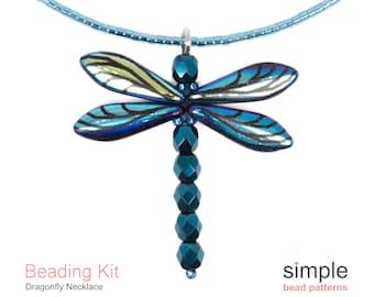 Jewelry Making Kit, Dragonfly Necklace Bead Kit, Beaded Dragonfly Pendant Bead Kit, Beadweaving Kits, Necklace Beading Kits, K-00902