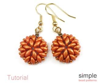 Beaded Pumpkin Earrings Pattern, Halloween Jewelry Making Beading Patterns, Beadweaving Tutorial, Earring Bead Patterns, Beaded Gift P-00388
