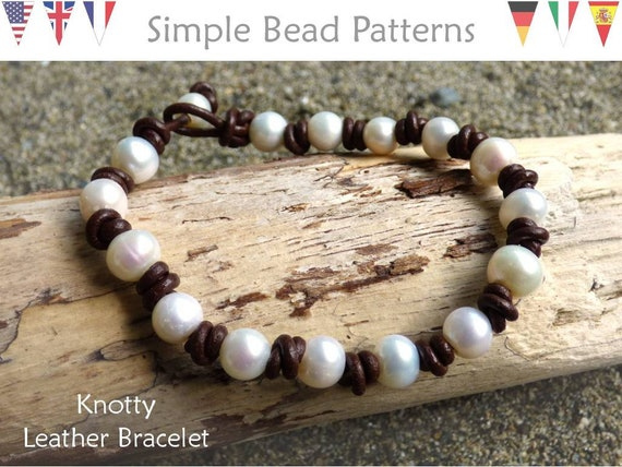 Diy Leather Bracelet With Pearls Jewelry Making Beading Pattern Knotty Leather Bracelet Simple Bead Patterns 371