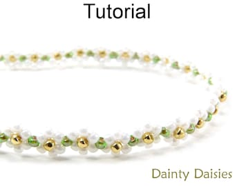 Daisy Chain Tutorial, Multi Wrap Beaded Bracelet Beading Pattern, Jewelry Making, Simple Bead Patterns, Flower Bracelet Tutorial, P-00114