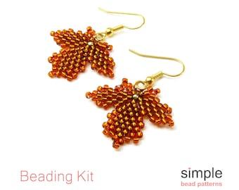 Beaded Leaf Earrings Kit, Jewelry Making Kit for Adults and Beginners, Beadweaving Kit, Earrings Beading Kit, Gift for Jewelry Maker K-00002