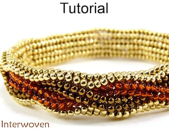 Jewelry Making Beading Pattern - Beaded Bracelet Tutorial - Herringbone Stitch - Simple Bead Patterns - Interwoven #5295