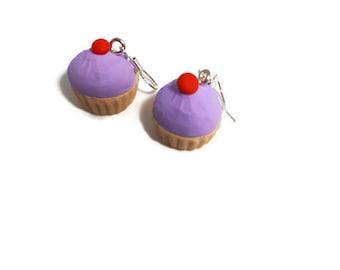 Cupcake earrings- fimo mini food kitsch retro rockabilly jewellery