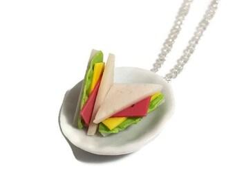 Sandwich on a  plate necklace- fimo mini food dolls house kawaii kitsch retro rockabilly jewellery