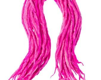 Wool dreadlocks Baby Pink blend custom wool dreads-  Double Ended Roving art hair extensions Kit