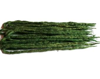 Wool Dreadlocks Green blend custom wool dreads-  Double Ended larp cosplay hair extensions Kit wig