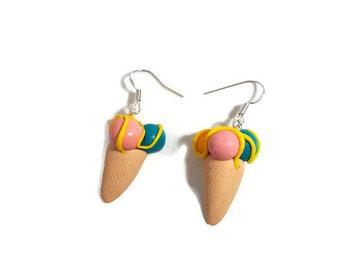 Ice cream cone earrings- fimo mini food rockabilly kitsch retro jewellery