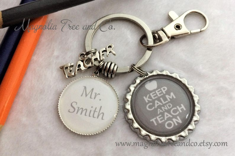 Keep Calm and Teach On Metal Ring Key Chain Keychain