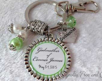 GODMOTHER or GODFATHER Personalized Gift for Godparents, Christening gift, Baptismal gift, Godparents, Keychain, Necklace, Announcement