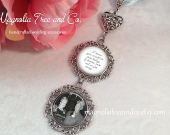 Bridal Charm, Bridal Bouquet Charm, Photo Memorial Charm, Custom Photo & Wording, Heart Wedding Charm, Choose 1 to 5 pendants, Here Today