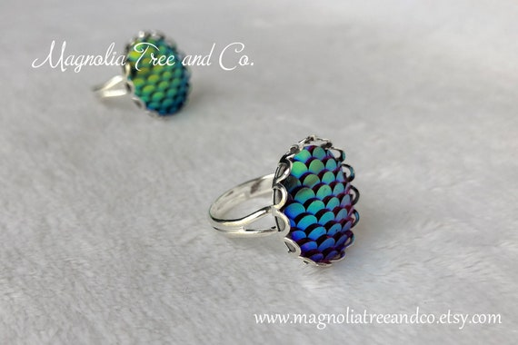 Adjustable Ring  Iridescent Rainbow.{F9-227#001503} Fish Scales Mermaid Scales Ring and Bracelet Set Dragon Jewelry JEWELRY