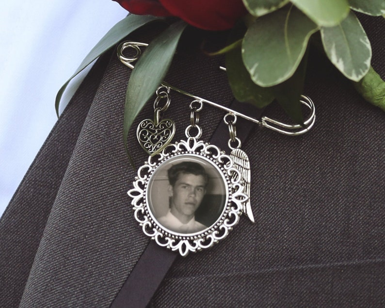 Custom Photo /& Text Bridal Bouquet Charm Groom Boutonniere Memorial Charm Single or Double Sided Photo Memorial Charm Pin