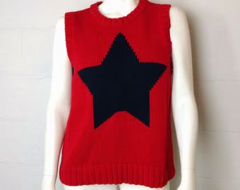 Vintage Liz Claiborne Red Navy Blue Sleeveless Star Sweater Large Made In The UK