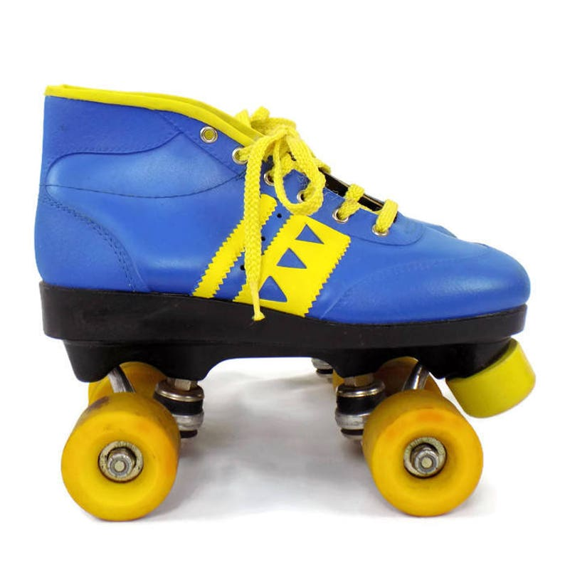 9b57f2d142830 Vintage 80's Kid's Boy's Braun Bilt Blue & Yellow Rollerskates Size 5-7  Made In The USA