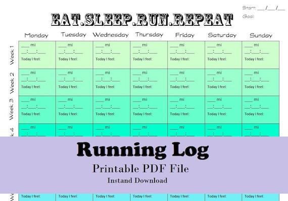 Printable Running Log Running Calendar Fillable Running Log Etsy