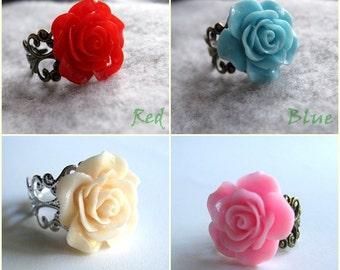 Beige Rose Adjustable Ring / Pink  Rose Adjustable Ring