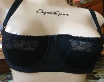 fac83c879f6d1 Vintage 60 s Demi push up nylon lace black bra Intrigue by Twilfit