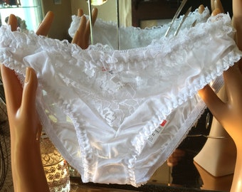 aedf49b51 White nylon and lace vintage 70 s bikini panties antron in appearance sissy  burlesque