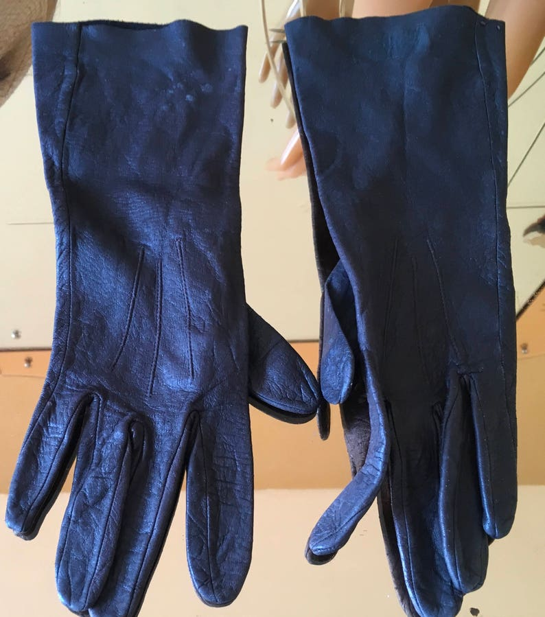 Vintage Prova dark brown  ladies  Kid leather gloves burlesque