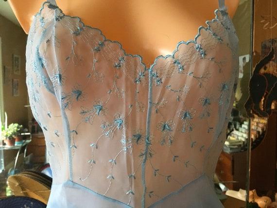 Vintage 50's sheer nylon organza blue slip panties