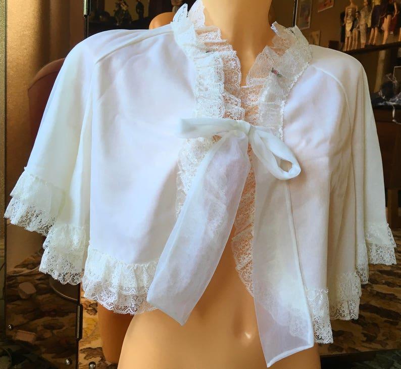 St michael vintage sheer nylon bed jacket frilled neck burlesque