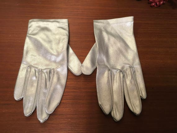 Vintage 60's  stretch silver lame formal  gloves