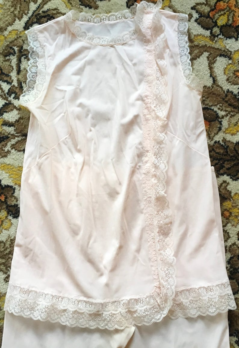 Pyjamas in pink nylon lace trimmed by Exciting made in France