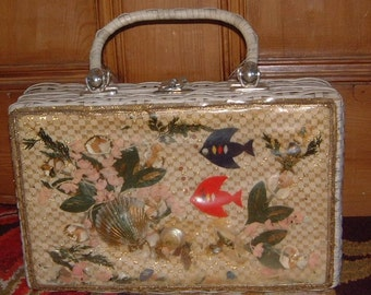 vintage mid century clear plastic fish tote bag