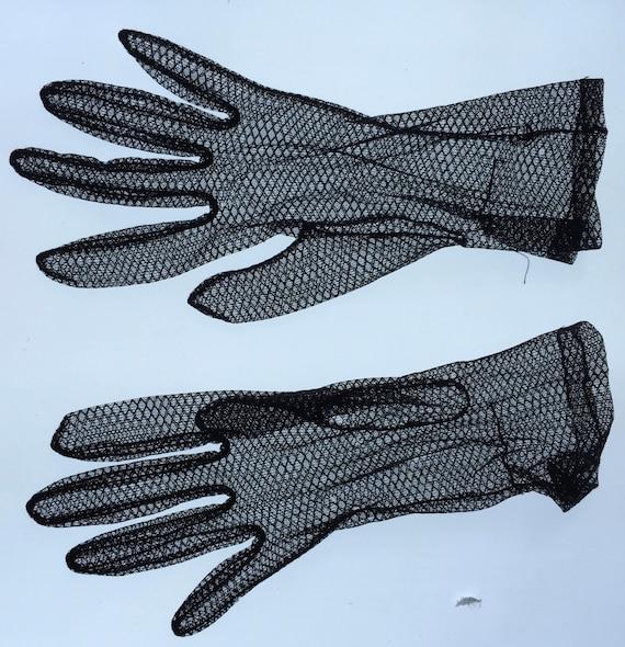 Vintage Unique Black Sheer Formal Gloves