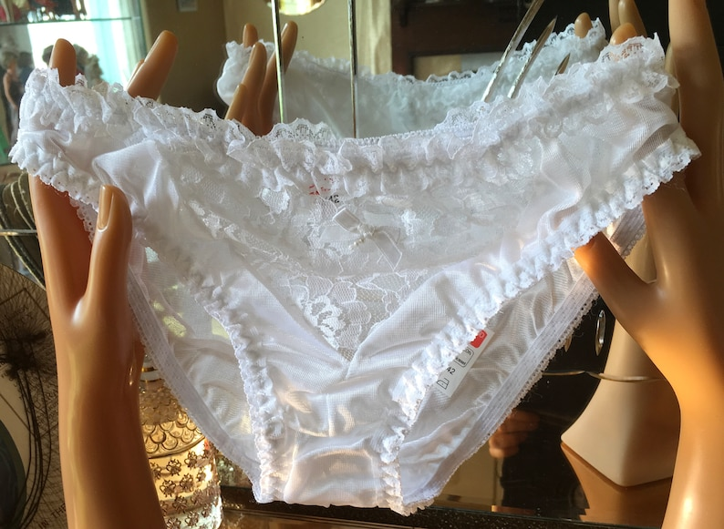 a9be6c7a795b White nylon and lace vintage 70s bikini panties antron in | Etsy