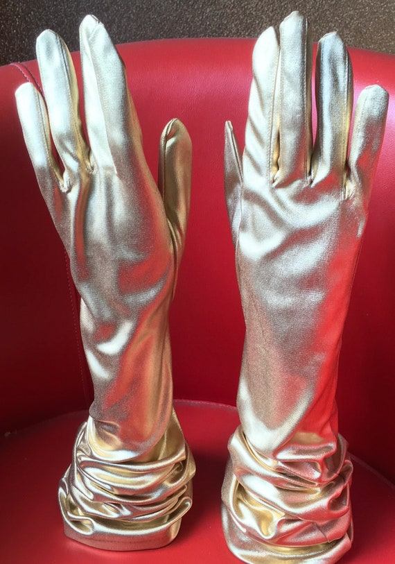 Gold lame formal mousquetaire opera evening gloves