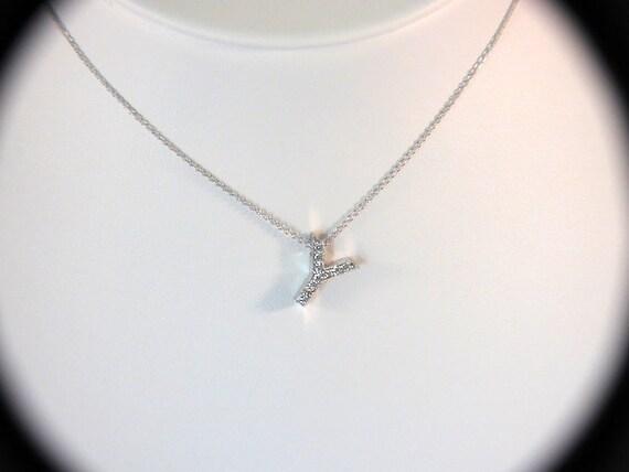 """Un total de 0.11 Carats peser diamants INITIALE LETTRE /""""K/"""" Collier Pendentif 14K Or blanc pas de chaîne"""