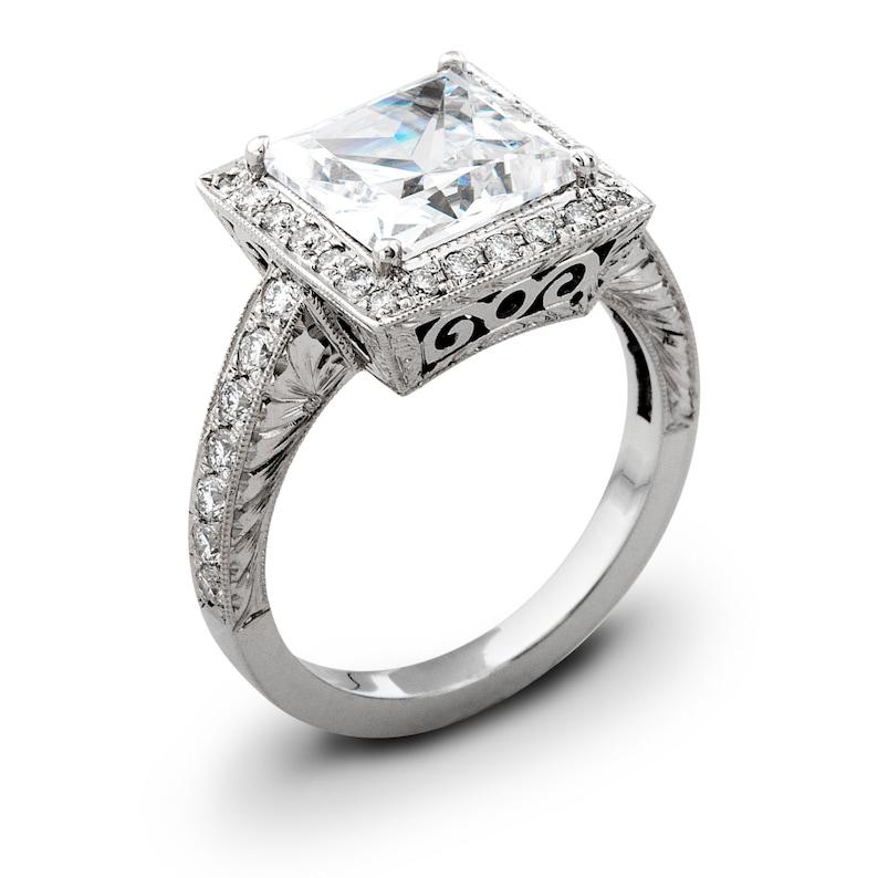 White Sapphire Vintage 14kt White Gold Engagement Ring 0 50 Etsy