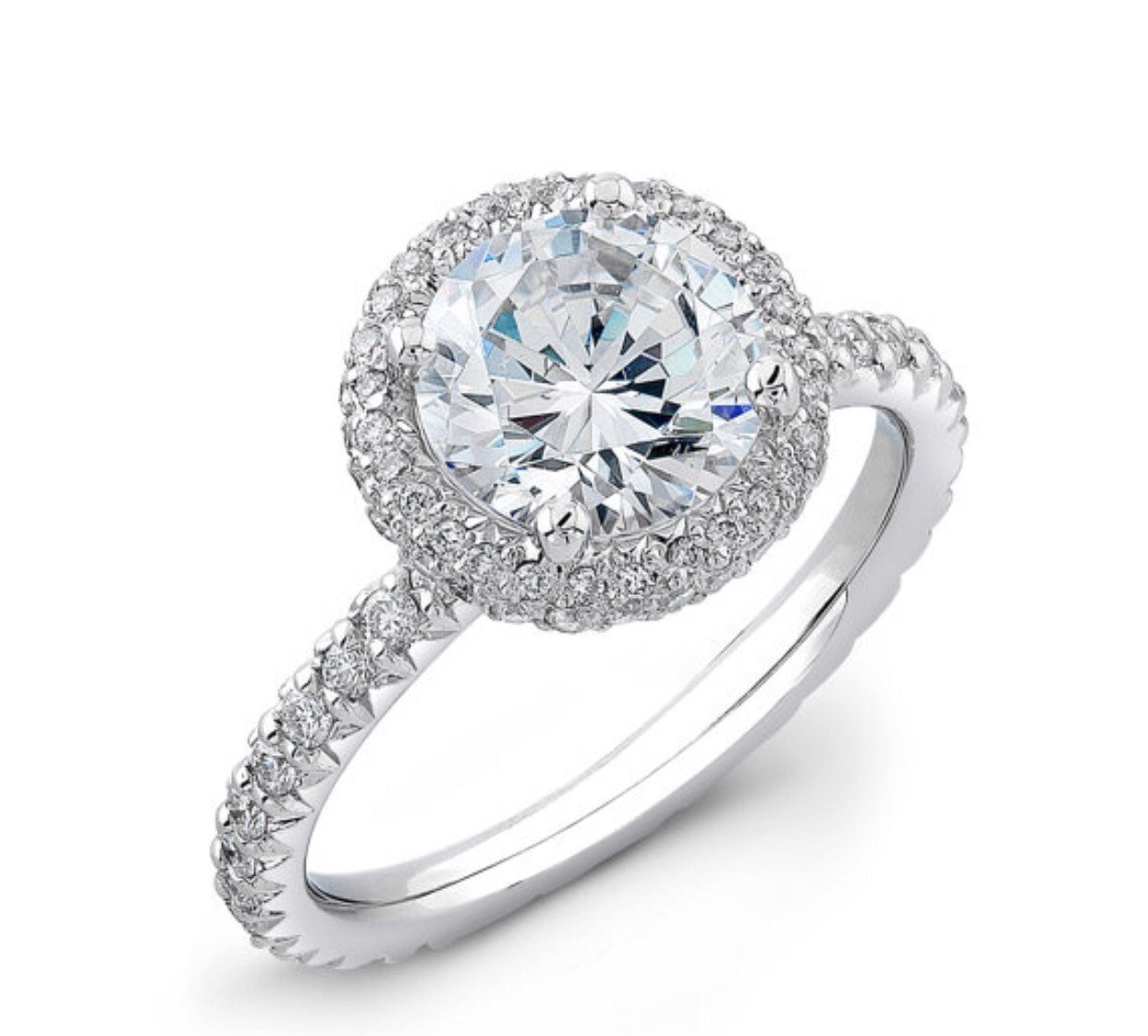 fe136c7d0a695 Ladies Platinum french pave diamond halo engagement ring 0.33 ctw with  1.50ct natural Round white sapphire