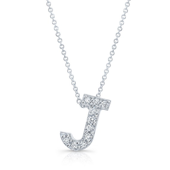 7feef3192 Diamond initial pendant in the letter J 14k white | Etsy