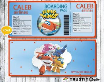 SUPER WINGS Invitation, Boarding Pass Invitation, Super Wings Birthday Party, Super Wings Party, Printable Airplane ticket,  Anniversarie